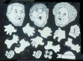 Three Stooges colorforms heads only